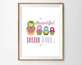 Babushka Doll Print for a Baby Girl's Nursery - Nesting Dolls - Matryoshka dolls - Instant Download Wall Art - Print at Home