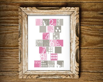Cute Number Print for a Girl's Room - Instant Download Wall Art - Print at Home