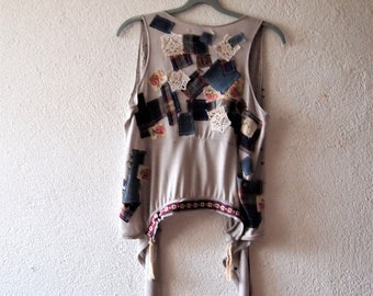 Tee Shirt, Up cycled Top, Resworked Top , Boho Vest, Hippy Vest,  Patchwork Vest, Tops, Artwork Vest,  All  Top, Tee Top,size L