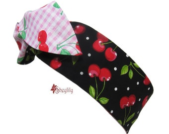 Cherry Dolly Bow Headband, Rockabilly, Womens Headband, Rosie Wrap, Pin Up Hair Wrap, , Rosie the Riveter, Wired Head Wrap