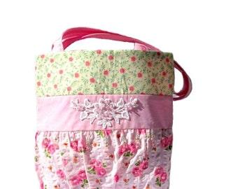 Pink Floral Handbag for Ladies, Women or Teens
