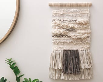Woven wall hanging - Cream and grey loopy textured woven wall hanging
