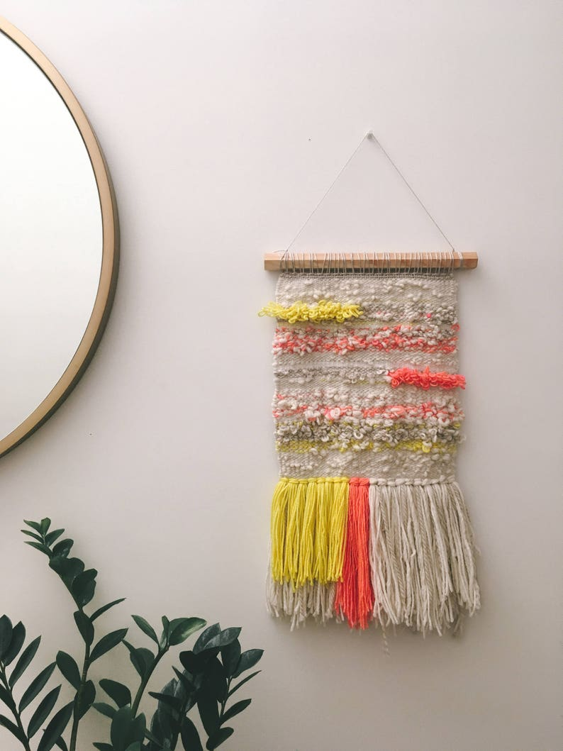 Woven wall hanging  Yellow pink and cream woven wall image 0