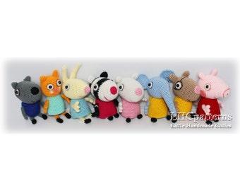 Peppa Pig Crochet Pattern, Crochet Peppa Pig Characters, Crochet Peppa Pig Friends,  Crochet Toddler Toy, Best Christmas Present