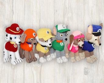 Paw Patrol Crochet Pattern, Amigurumi Paw Patrol,  Paw Patrol Crochet, Paw Patrol Pattern, Paw Patrol Pattern, 6 x Crochet Puppy Pattern
