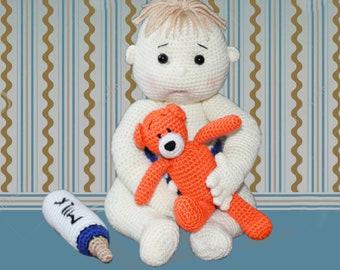 Baby Ollie Crochet Pattern, Baby Doll Crochet Pattern,Baby Boy Crochet Pattern, Doll Crochet Pattern, Amigurumi Doll, Amigurumi Baby