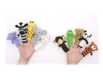 Finger Puppets Crochet Pattern, Animal Finger Puppets, Toddler Toy, Animals Finger Dolls, Crochet Animals Pattern