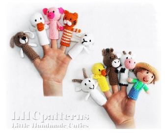 Finger Puppets Crochet Pattern, Farm Animals, Old Macdonald Finger Puppets, Toddler Toy, Farm Animals Finger Dolls