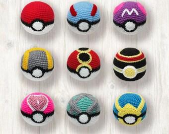 Pokemon Balls Crochet Pattern, Poke Ball, Great Ball, Master Ball, Ultra Ball, Repeat Ball, Luxury Ball, Love Ball, Net Ball, Quick Ball