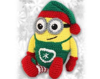 Minion Christmas Elf Crochet Pattern, Crochet Christmas Elf, Crochet Minion, Minion Crochet Pattern