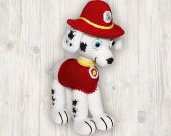 Marshall Pup Paw Patrol Pattern, crochet puppy pattern, dog crochet pattern, puppy crochet pattern, fire fighter dog crochet pattern