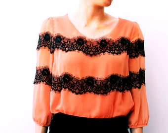Sweet blouse. Ideal gift for her. Vintage clothes. Blouse for loving. Coral love blouse.