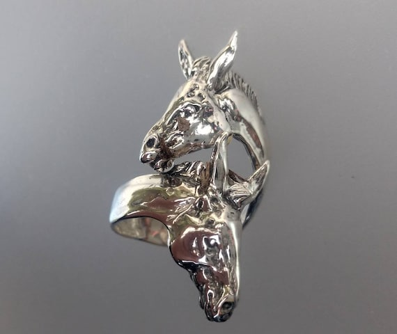 Donkey or Mule wrap ring  STERLING SILVER One size sizes 5 to 9 Zimmer design