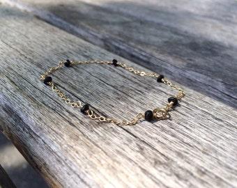 Black Tourmaline Bracelet / Gold Filled or Sterling Silver or Rose Gold, Thin, Delicate, Layer / Anabel Nove