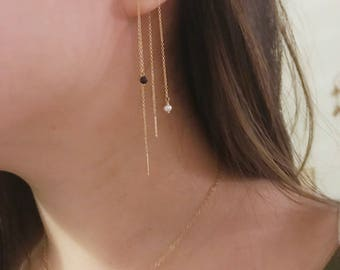 Gemstone Threader Earrings / Gold Filled, Gemstone / Anabel Nove