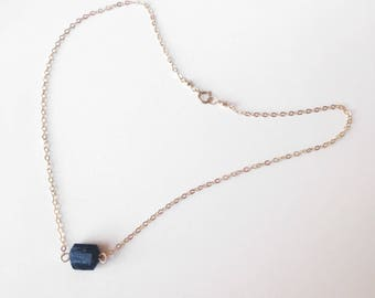 Black Rough Tourmaline Necklace or Choker / Gold Filled, Sterling Silver or Rose Gold Filled/ Anabel Nove