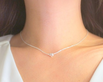 Puffed Sterling Silver Star Choker Necklace / Anabel Nove