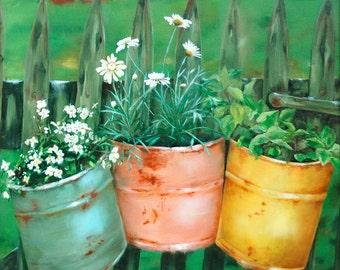 Rusty Buckets, fine art paper print