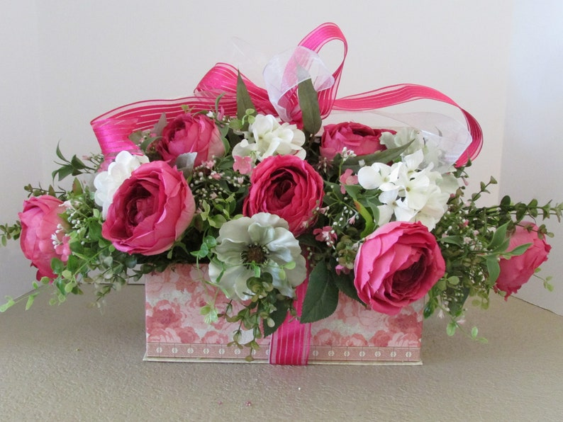 Mothers Day Gift Decorative Box Flower Arrangement Home