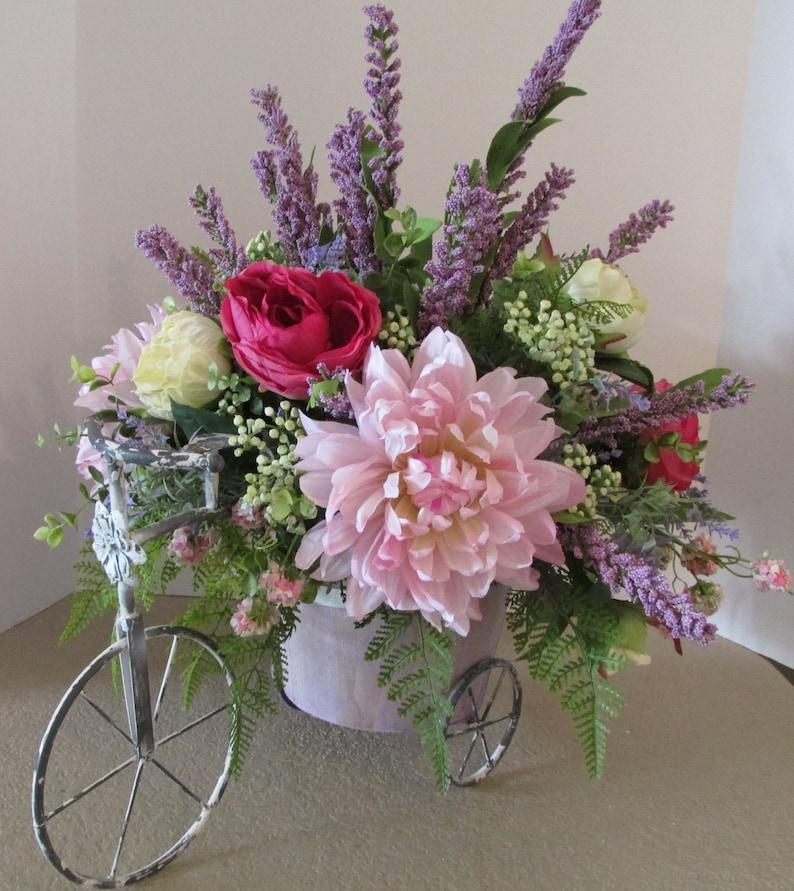 31f98298026f4 Bicycle Floral Arrangement Spring Floral Centerpiece | Etsy