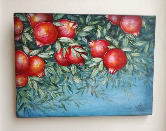 Pomegranates painting on wood, acrylic painting on wood,  pomegranates branch painting with fruit and leaves, fall winter decor