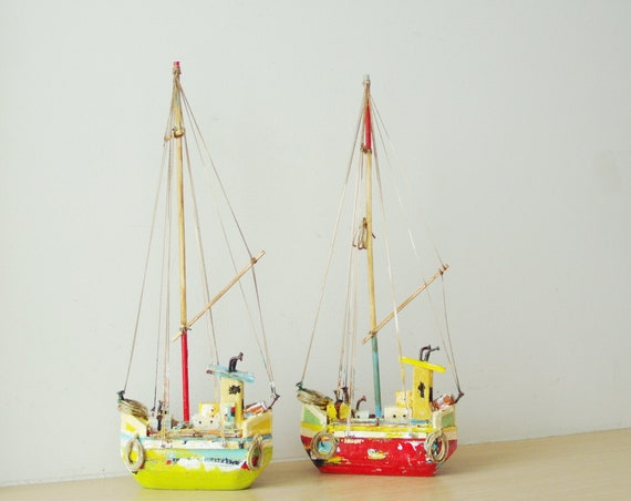 Wooden Greek sailboat, colourful sailboat of wood, metal, twine, etc, completely handmade and unique, green rustic sailboat, folk art boat
