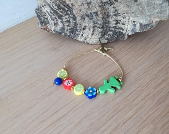 Colourful beads bracelet, boho friendship bracelet, fruit and flowers bracelet, red yellow blue green cuff, girlie color bracelet