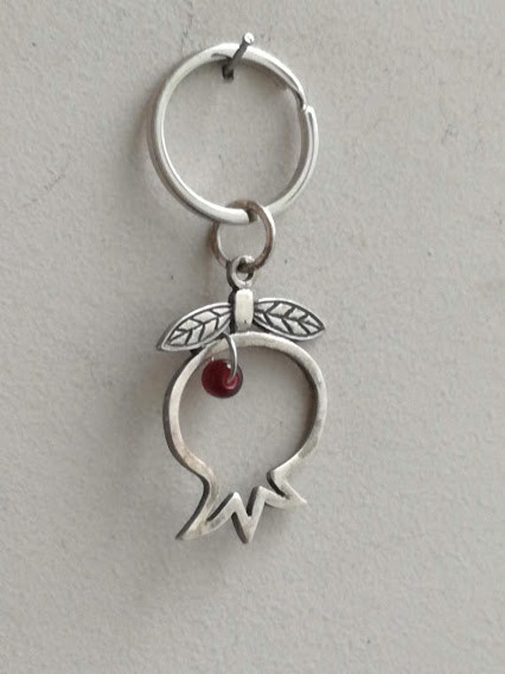 Silver Pomegranate keychain, silver pomegranate charm with burgundy bead key ring, pomegranate outline key ring