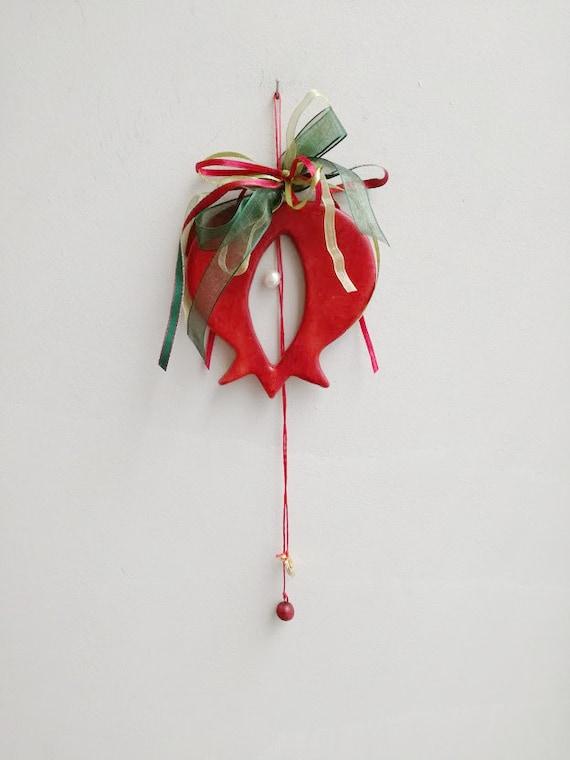 Ceramic pomegranate ornament, pomegranate wall hanging with green red ribbons, Xmas pomegranate decor, Christmas & New Year pomegranate gift