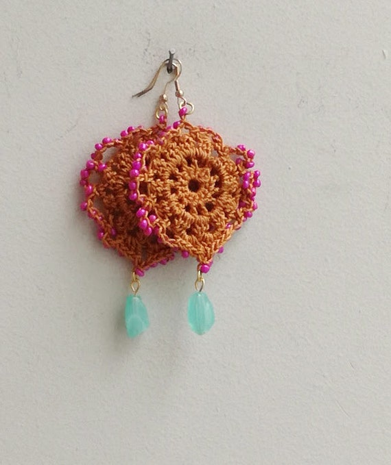 Boho crochet earrings, dangle crochet earrings, colourful crochet earrings with pink- blue stones, boho hippie drop earrings
