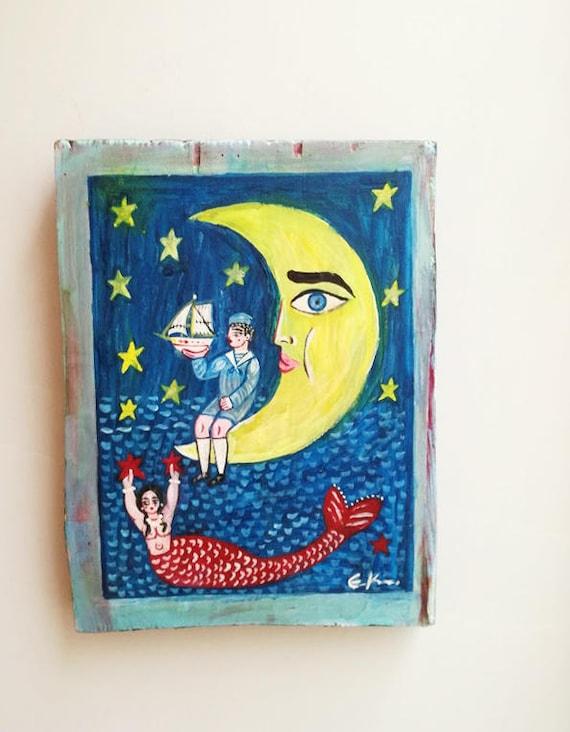 Yellow moon painting, half moon, child and mermaid folf art painting on salvaged wood, vintage folk painting, Greek folk art