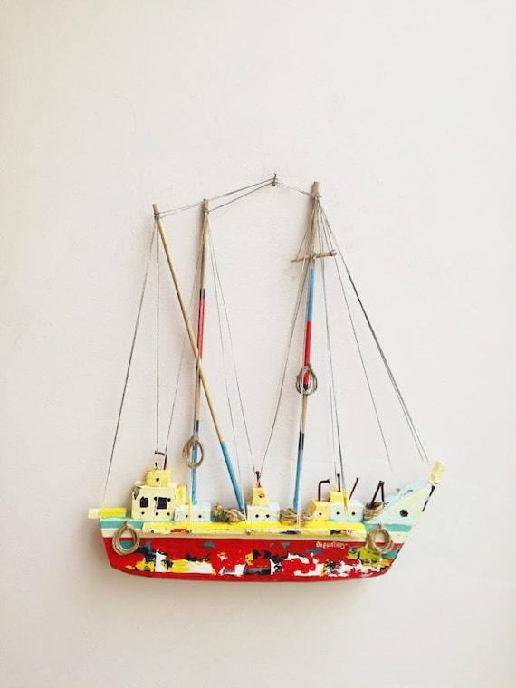 Wooden Greek sailboat, colourful sailboat of wood, metal, twine, etc, unique, Greek folk art boat, red sailboat art object, wooden boat