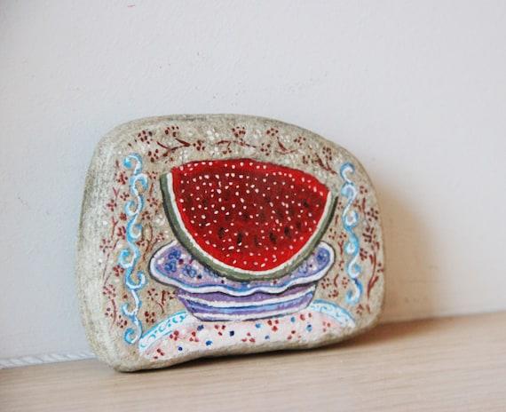 Watermelon slice painting, vintage folk art painting on found stone, watermelon slice on a plate, Greek  folk art, late eighties