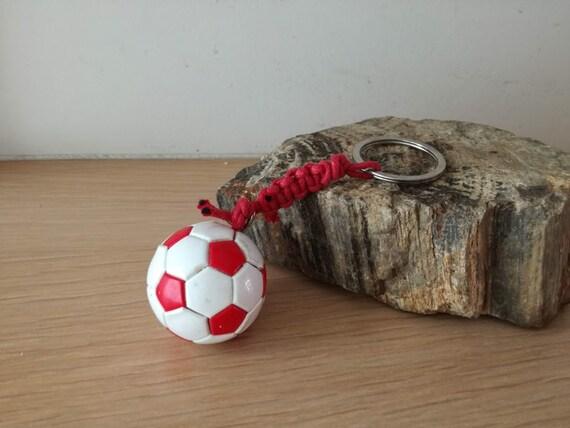 Football keyring, red and white football, Olympiakos ball key ring, red white soccer ball key chain, mens gift, kids soccer team gift