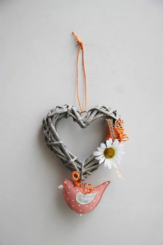 Pink bird wreath, heart shaped, wicker wreath with metal bird and white daisy, spring wreath for door or wall, coral pink new rustic wreath