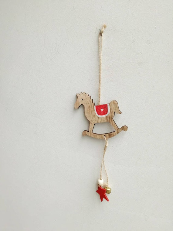 Rocking horse ornament, natural wood, rocking horse, Xmas tree ornament, beige horse with red saddle, rustic Christmas tree ornament