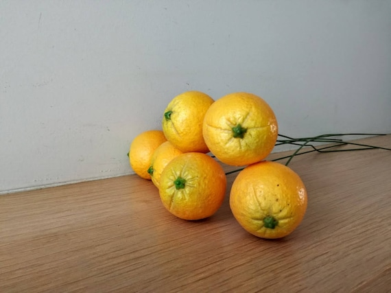 Oranges with wire stem, polyester oranges for wreaths and craft making, life size, life like, small oranges supplies on a stem, set of six