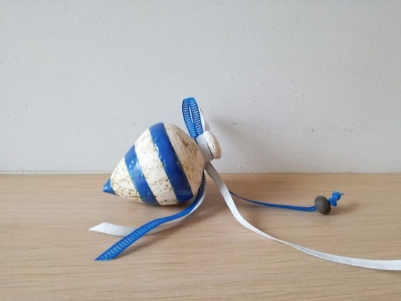 Ceramic spinning top, decorative spinning top in blue and white, retro toy sculpture, rustic boho, life size spinning top, top favours