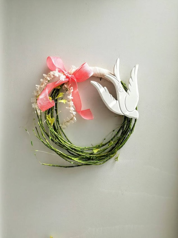 White bird wreath, wooden bird on green vines wreath, white bird with coral pink and ivory ribbons wreath, rustic wreath, bridal wreath
