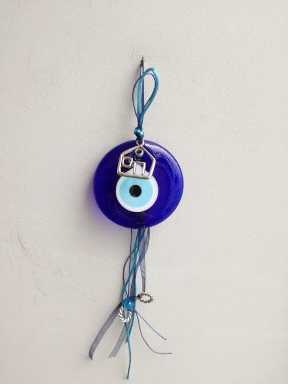 Blue eye house charm, hand blown glass eye in night blue with silver house charm and blue ribbons, traditional, Greek folk art
