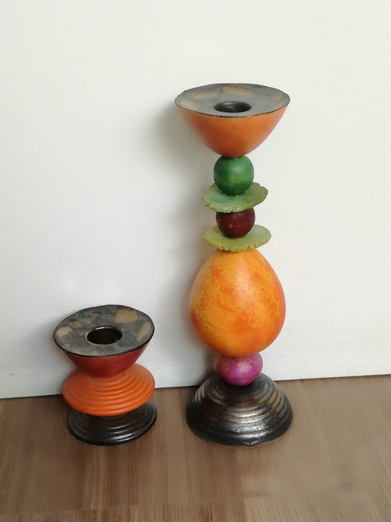 Multi-colored, ceramic candle holder, five tier, ceramic candleholder, multicolor home decor, earthenware, beaded candlestick