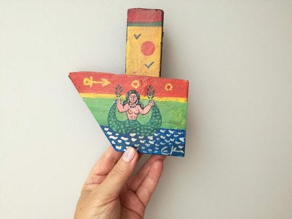 Mermaid on wooden boat, folk art shabby boat of reclaimed wood, salvaged, old wood folk boat with Greek mermaid