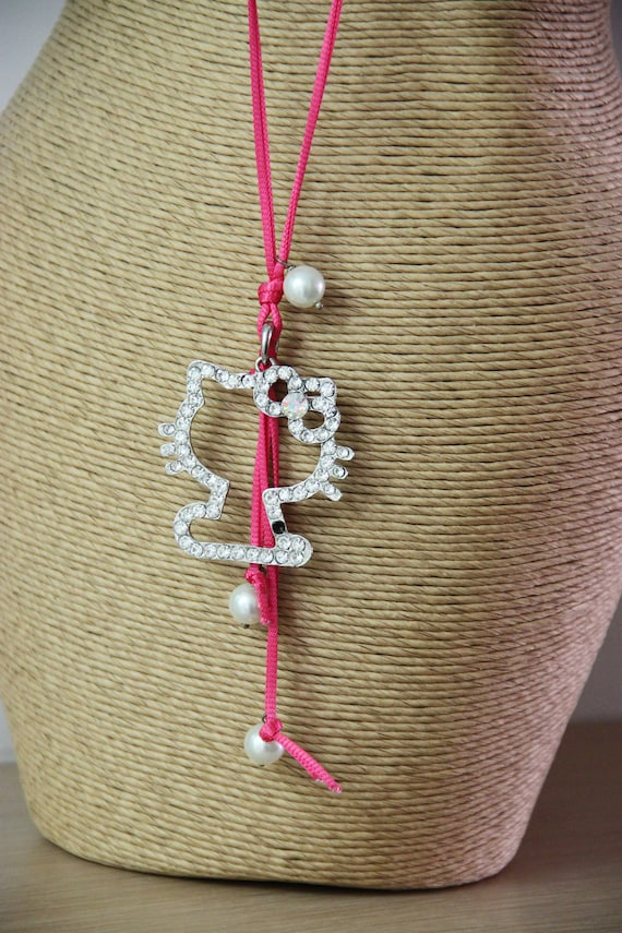 Sequined kitty necklace, vintage kitty pendant and white faux pearls on fuchsia pink cord, kitty cat outline necklace, accent jewelry