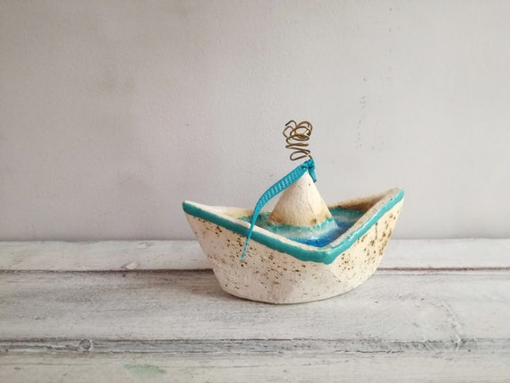 white blue boat, white clay blue glaze paperboat with wire smoke, handmade handbuilt Greek boat, blue boat favours, boho blue boat decor