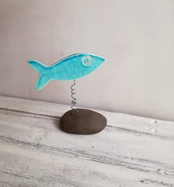 Blue fish figurine, turquoise blue, porcelain fishie  on black stand, decorative fish on wire stem , aqua blue fish favour, blue fish gift