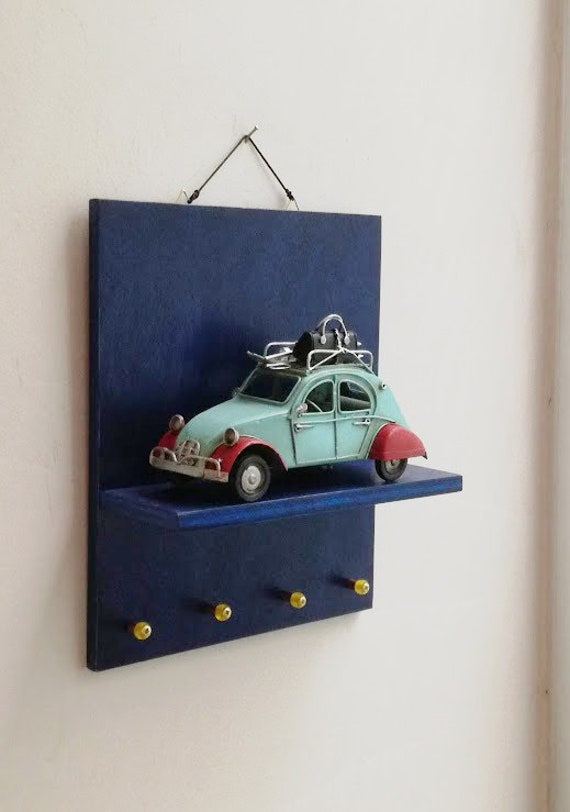 French car car key organiser, wooden shelf with French car miniature diorama and key hangers, collectible bug miniature with key organiser