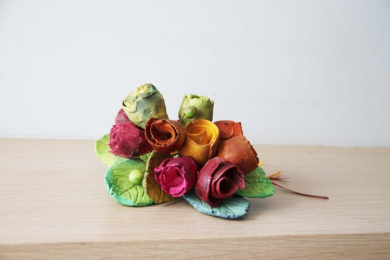 Ceramic rose bouquet , multi-coloured ceramic roses with ceramic leaves and brass wire stems, one of a kind roses bouquet, made to order