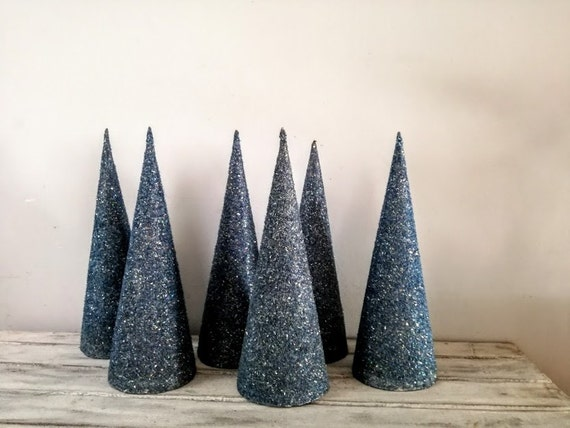 Paper cone Xmas tree, blue grey Christmas tree cone for crafts and decor, blue glitter Xmas tree cone, paper Christmas tree sculpture