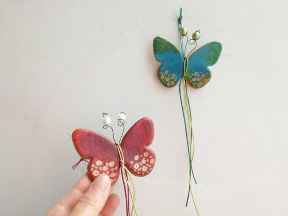 Multi colored ceramic butterfly, buttefly wall hanging, ceramic butterfly decor, small wall buterfly in red or blue, decorative butterfly