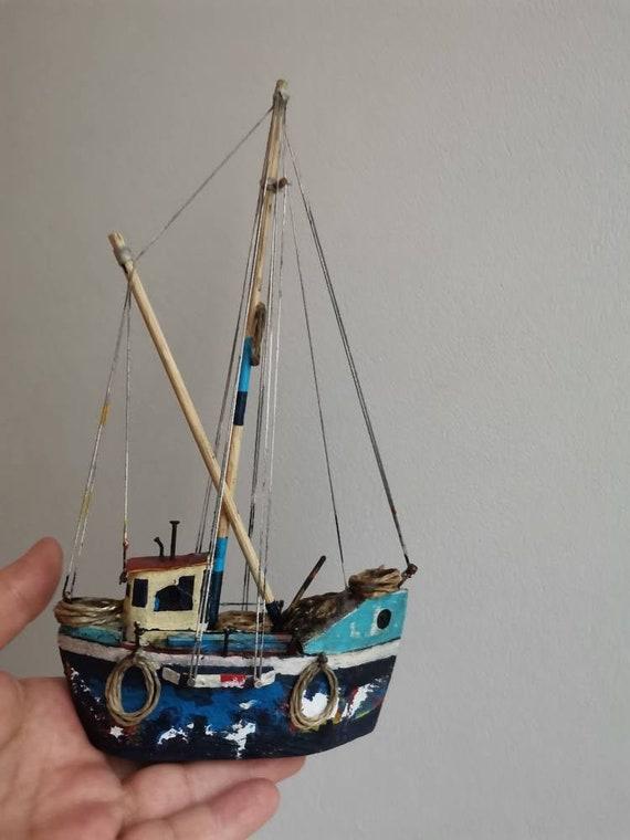 Wooden blue sailboat, colourful sailboat of wood, metal, twine, etc, handmade,hand built, unique, Greek rustic sailboat, Greek folk art